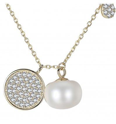 Colier din argint decorat cu Swarovski Elements si perla Anastasia