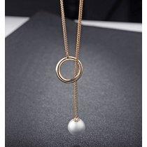 Colier lung placat cu aur si decorat cu perle