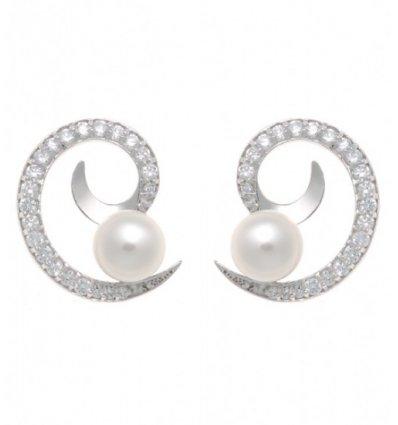Cercei din argint cu model spiralat, perle de cultura si cubic zirconia