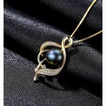 Dark Pearl -  Colier din argint decorat cu cristale