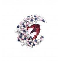 Brosa cu cristale austriece Luxury Red Moon