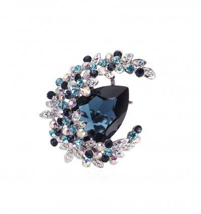 Brosa Sapphire Blue Moon cu cristale austriece