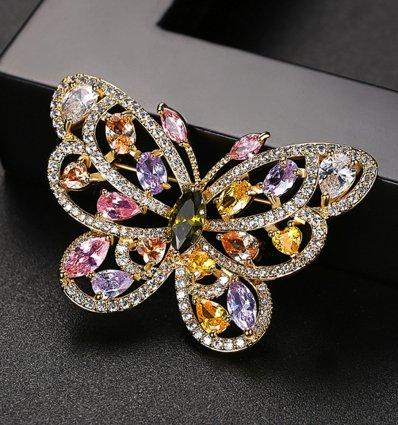 Spring Joy Butterfly - Brosa decorata cu cristale cubic zirconia