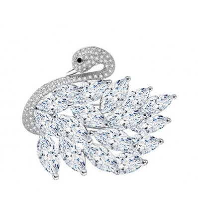 Brosa cu cristale cubic zirconia Elegant Swan