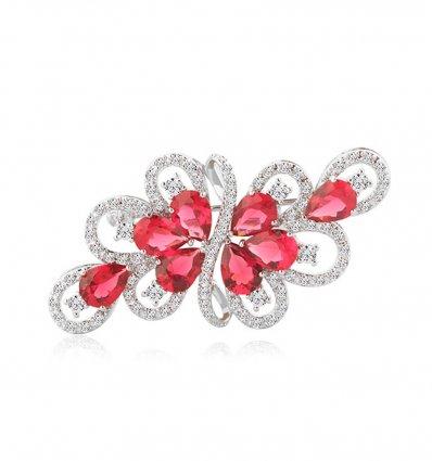 Brosa Red Passion cu cristale cubic zirconia