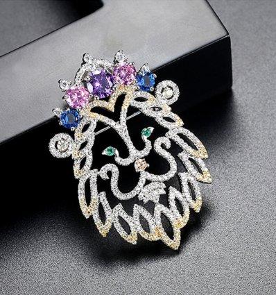Brosa cu cristale cubic zirconia Cute Lion