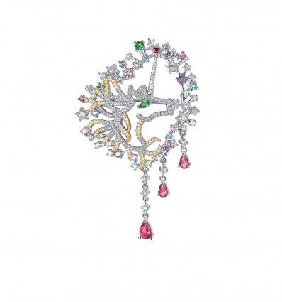 Brosa Luxury Unicorn cu cristale cubic zirconia