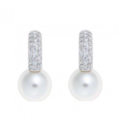 Cercei din argint cu perle de cultura albe