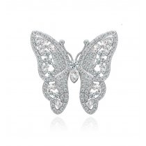 Brosa Discret Butterfly decorata cu cristale cubic zirconia