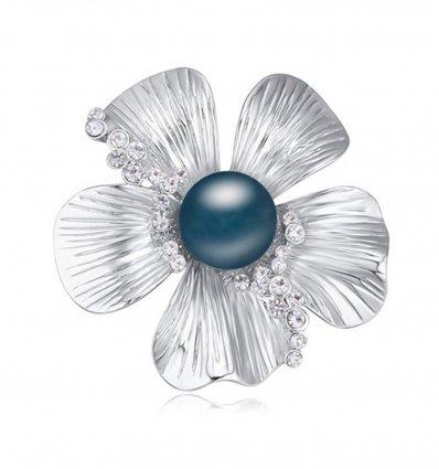 Brosa cu cristale austriece Blue Pearl