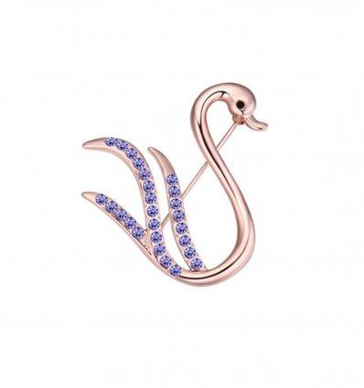 Brosa cu cristale austriece Purple Crystals Swan