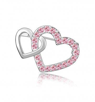 Pink Love - Brosa cu cristale austriece