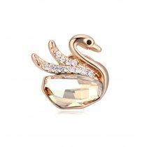 Champagne Gold Swan - Brosa cu cristale austriece