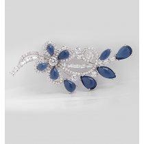 Brosa cu cristale cubic zirconia Blue Blossom
