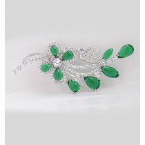 Brosa cu cristale cubic zirconia Green Blossom