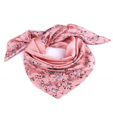 Esarfa satinata Intense Pink Flowers