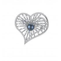 Luxury Silver Heart - Brosa Ag. 925 cu cristale cubic zirconia si perla