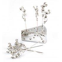 Set tacamuri argintate cu soricei pentru servit branzeturi