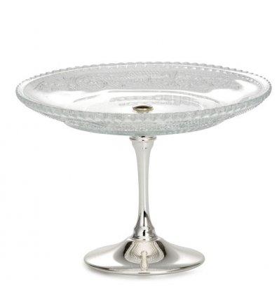Platou din sticla cu picior inalt argintat