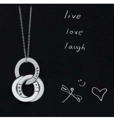"Colier din argint ""Live. Love. Laugh"" SMALL - Wear your feelings! LANIERE Life"