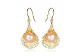 Cercei din argint placati cu  aur si decorati cu perle Gold Pearl Shell