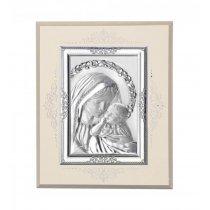 Icoana pe foita de argint cu Maica Domnului si Pruncul - 16 x 14 cm