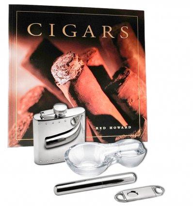 Set trabuc argintat, cutter, scrumiera si recipient whiskey by Chinelli Italy