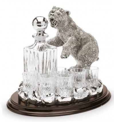 Statueta argintata cu suport de lemn pentru bauturi fine