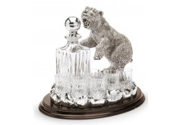 """Statueta argintata cu suport de lemn pentru bauturi fine """"Bear"""" by Chinelli"""
