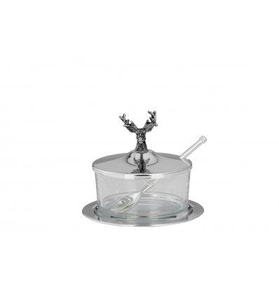 Recipient parmezan din sticla si detalii argintate
