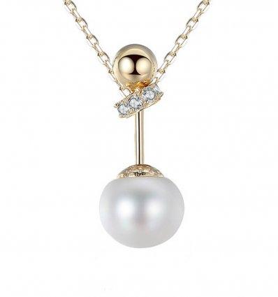 Colier argint 925, placat cu aur 18Kt, decorat cu perla cu cristale cubic zirconia Elegance