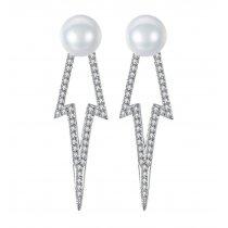Cercei argint 925 cu cristale cubic zirconia si perla Lightning