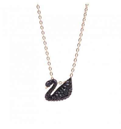 Colier Gold Luxury Black Swan - Austrian Crystals