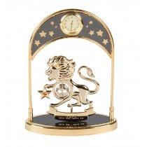 Ceas de birou placat cu aur si decorat cu Swarovski Zodia Leu