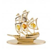 Corabie Gold Ship cu cristale Swarovski