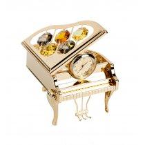 Figurina in forma de pian cu ceas, decorata cu cristale Swarovski
