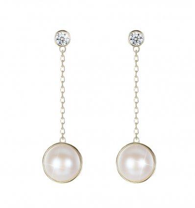 Cercei delicati, argint 925 placati cu aur si decorati cu perle