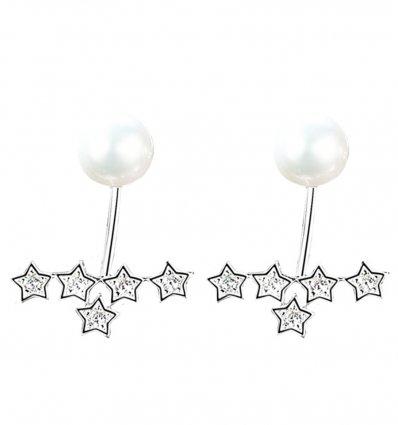 Cercei din argint 925 decorati cu perle si cristale Amanda