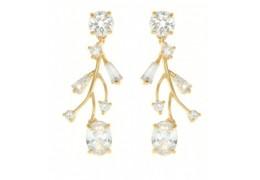 Cercei placati cu aur cu cristale Swarovski albe