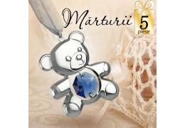 Set 5 Ursuleti cu cristale Swarovski- oferta marturii de botez