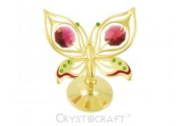 Fluturas auriu cu cristale Swarovski rosii si vernil