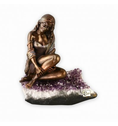Statueta din bronz pe suport din ametist