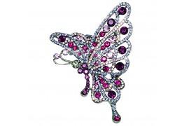 Brosa fluturas cu cristale Swarovski violet si roz