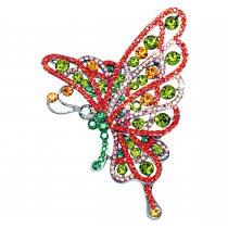 Brosa Fluturas cu cristale Swarovski multicolore