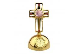 Cruciulita cu cristale Swarovski pe suport cu ceas