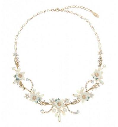 Colier pentru mirese cu perle de cultura si cristale Swarovski