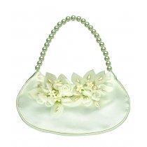 Poseta pentru mirese cu model floral, perle si cristale