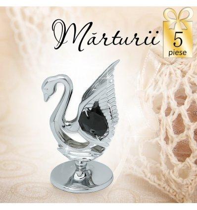 Lebada neagra cu cristale Swarovski -  oferta de 5 marturii nunta