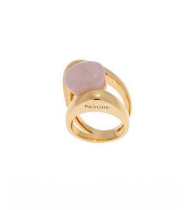 Inel cu cuart roz - placat cu aur