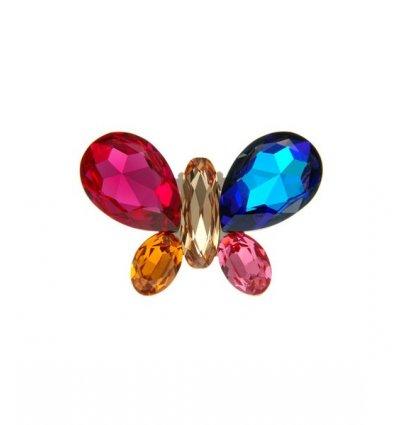 Brosa cu cinci cristale Swarovski multicolore